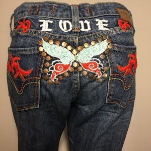 Vigoss Embroidered butterfly jeans